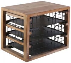 Block & Chisel square Polywood storage stand with iron shelves