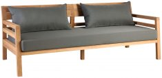 Block & Chisel outdoor teak 2 seater sofa with grey cushions