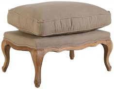 Block & Chisel beige upholstered Beauvais ottoman