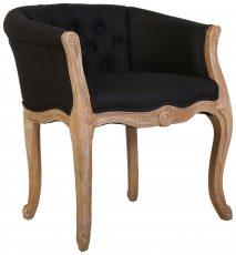 Block & Chisel black velvet button tufted french chair with brushed oak wooden frame