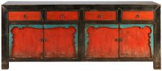 Block & Chisel red and green distressed wooden sideboard