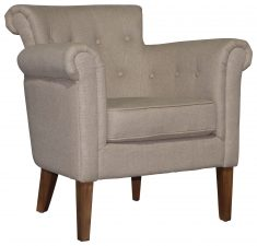 Block & Chisel Occasional Chair linen upholstered with deep button