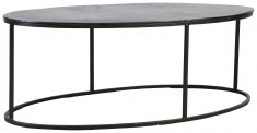 Block & Chisel oval bronze coffee table with black iron base