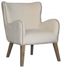 Block & Chisel Occasional Chair cream Velvet Upholstery With Birch Wood Legs