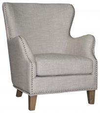 Block And Chisel Occasional Chair linen upholstery birch wood legs with stud detail