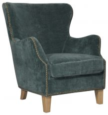 Block & Chisel Occasional Chair Velvet Upholstery with Birch Wood Legs