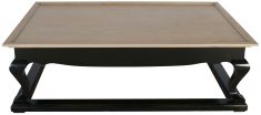 Block & Chisel rectangular grey washed oak coffee table with black base