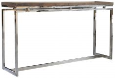 Block & Chisel recycled elm console table with stainless steel base