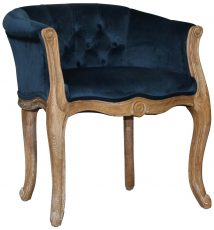 Block & Chisel blue velvet button tufted french chair with brushed oak wooden frame