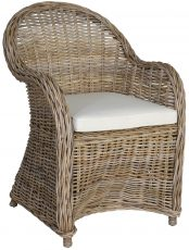 Block & chisel kubu rattan armchair with white seat cushion
