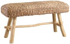 Block & Chisel rectangular woven water hyacinth bench with teak wood legs