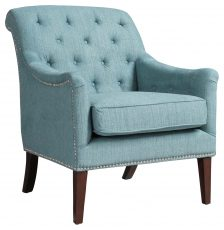 Block & Chisel blue upholstered occasional chair with birch wood legs
