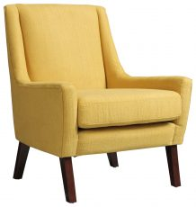 Block & Chisel yellow upholstered occasional chair with birch wood legs