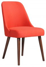 Block & Chisel orange upholstered dining chair with birch wood legs