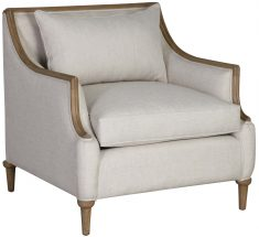 Block & Chisel upholstered occasional chair with mindi wood legs