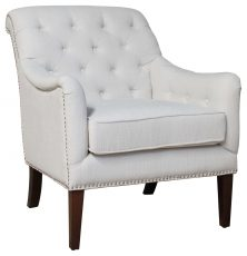Block & Chisel cream upholstered occasional chair with birch wood legs