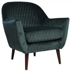 Block & Chisel green velvet upholstered occasional chair with birch wood legs