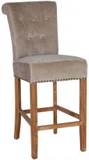 Block & Chisel beige upholstered barstool with oak wood legs