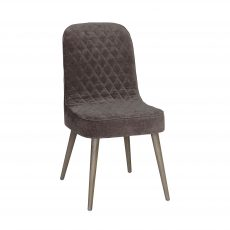 Block & Chisel brown upholstered dining chair with beech wood leg