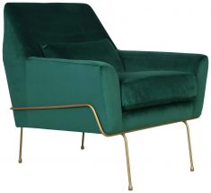 Block & Chisel green upholstered occasional chair with gold coated metal legs