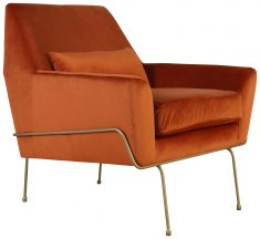 Block & Chisel orange upholstered occasional chair with gold coated metal legs