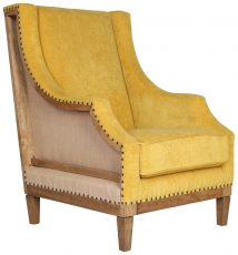Block & Chisel mustard upholstered occasional chair with rubber wood legs