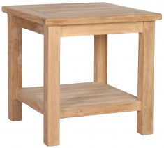 Block & Chisel square teak wood side table