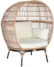Block & Chisel round rattan occasional chair with cushions
