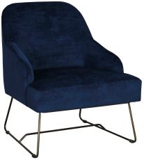 Block & Chisel navy blue velvet upholstered occasional chair with metal base