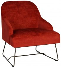Block & Chisel red velvet upholstered occasional chair with metal base