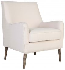 Block & Chisel cream upholstered occasional chair with rubber wood legs