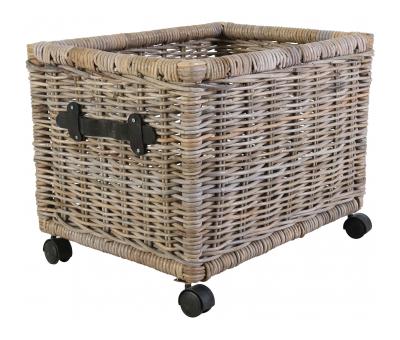 Block & Chisel grey kubu rattan basket with leather handle
