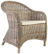 Block & Chisel grey kubu rattan armchair with white cushion