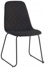 Block & Chisel black quilted linen dining chair with metal tube legs