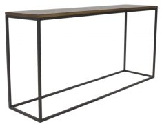 Block & Chisel Weathered Oak console table with matt black metal base