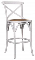 Block & Chisel antique white elm wood barstool with rattan seat