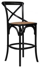 Block & Chisel black elm wood barstool with rattan seat