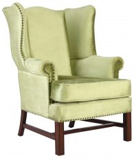 Block & Chisel green velvet upholstered wingback occasional chair