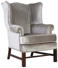 Block & Chisel silver velvet upholstered wingback occasional chair