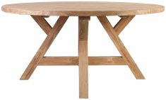 Block & Chisel round reclaimed teak dining table