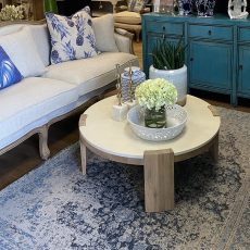 round coffee table oak and concrete