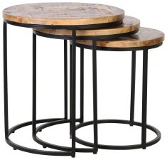 Block & Chisel mango wood nesting side tables with metal base