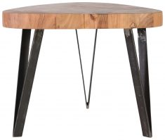 Block & Chisel log wood side table with metal legs