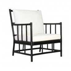 black rattan armchair with seat and back cushions