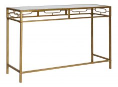 metal gold geometric console with mirror top