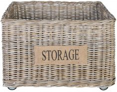 Block & Chisel rectangular kubu rattan basket on wheels