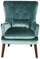 Block & Chisel teal velvet upholstered occasional armchair with birch wood legs
