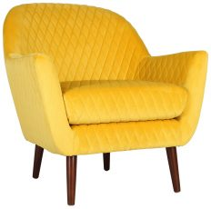 Block & Chisel yellow velvet upholstered occasional chair with birch wood legs