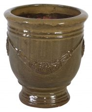 Block & Chisel green terracotta pot with glaze