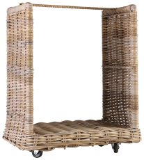 Block & Chisel kubu rattan log basket on wheels